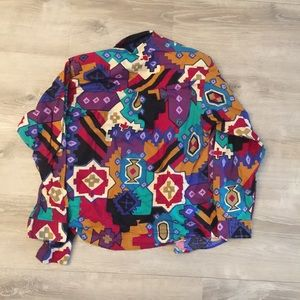 Vintage Men's Colorful Print Button Shirt Large